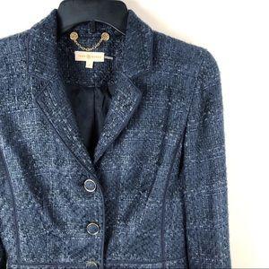 Tory Burch Tweed Drew Jacket Blazer Navy Blue Sz 8